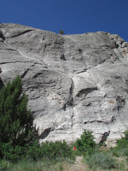 Climbers on Cowboy Route, belay on the big crack/dihedral that is lower end of Easy Way Up.