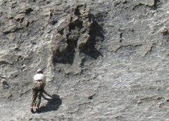 Rock Climbing Photo: Climber nearing a tied-off chickenhead on Cowboy R...