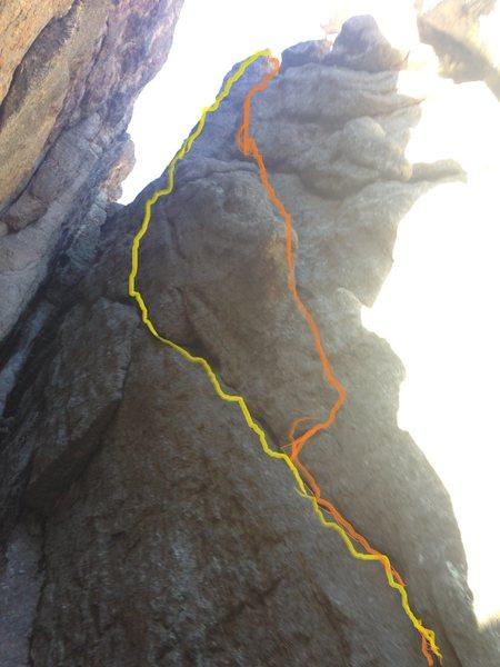 Rock Climbing Photo: Orange is Cherry Light. Yellow is They are Afraid ...