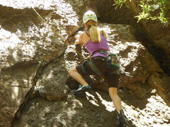 "Rock Climbing Photo: Nearing the 2nd bolt on ""Xanadu."""