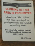 Rock Climbing Photo: The NPS signage at The Lookout. Two signs on the l...