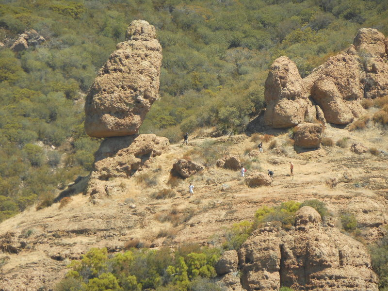 An unusually busy day at Balanced Rock, high above Echo Cliffs.