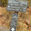 The often maligned sign at the junction of the Sandstone Peak connector trail and the Mishe Mokwa/Backbone Trail.