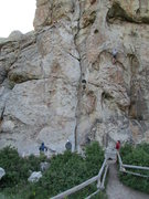 Rock Climbing Photo: Climbers on 3 popular Routes: Rollercoaster, Priva...
