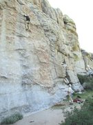 Rock Climbing Photo: At the third and final bolt before the moves to th...