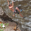 Some good holds after <br> the cruxy crimps on<br> Crimp Chimp (5.12a)