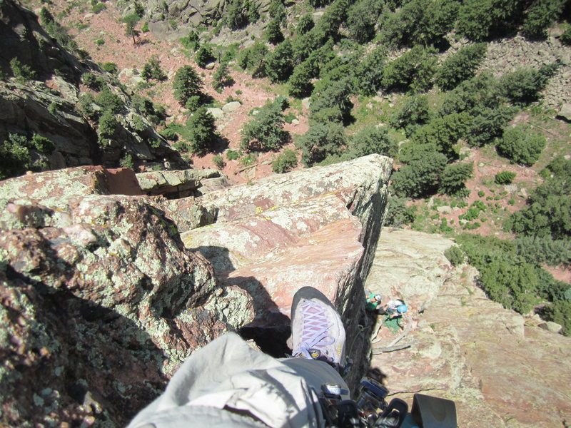Rock Climbing Photo: Looking down the arete. The top of Rewritten's 4th...