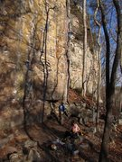 Rock Climbing Photo: Me leading Grey Matter. You can see the rocks belo...