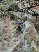 Rock Climbing Photo: Ralph T, age 70, cleaning City Girls.
