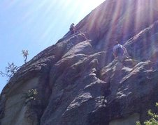 Rock Climbing Photo: Rodger nearing the belay on Raindance. Photo court...