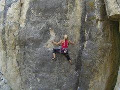 Rock Climbing Photo: Heather climbing Badgering the Witness, 5.11a.
