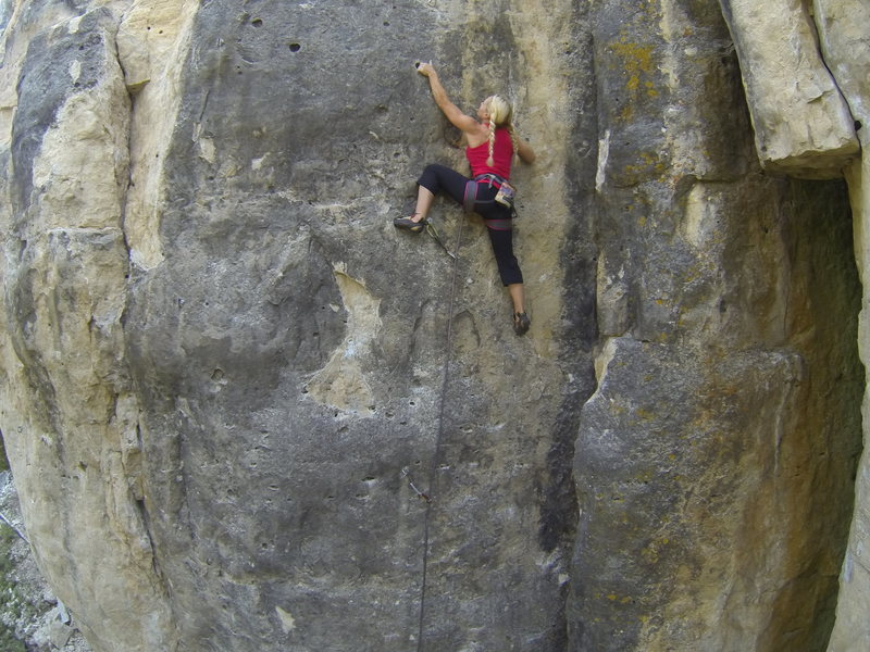Heather on Badgering the Witness, 5.11a