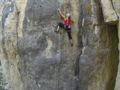 Rock Climbing Photo: Heather on Badgering the Witness, 5.11a