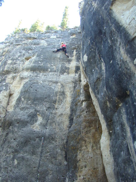 Heather feels the pump of the bird's nest pocket on Badgering the Witness a.k.a. &quot;The Drilled Sergeant&quot;.<br> <br> Courthouse Wall, Shadowlands.<br> Spearfish Canyon, SD.