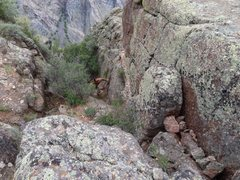 Rock Climbing Photo: This is the gully you must scramble down about 70 ...