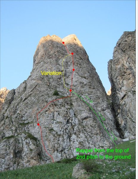 Central Bastion route shown in red, option for pitch 3 is shown in yellow, final rappel shown in green.