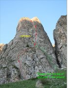 Rock Climbing Photo: Central Bastion route shown in red, option for pit...