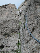 Rock Climbing Photo: Me leading the 5th pitch.  It finishes in the notc...