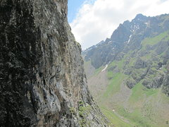 Rock Climbing Photo: View up Tuyuk-Su Valley from the 3rd pitch of Cent...