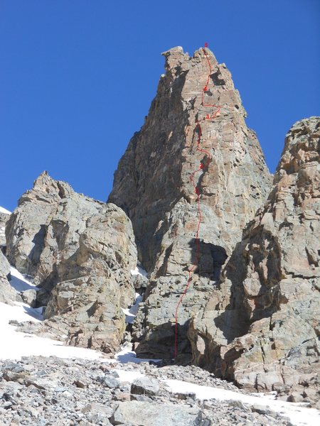 Rock Climbing Photo: The route is marked in red.