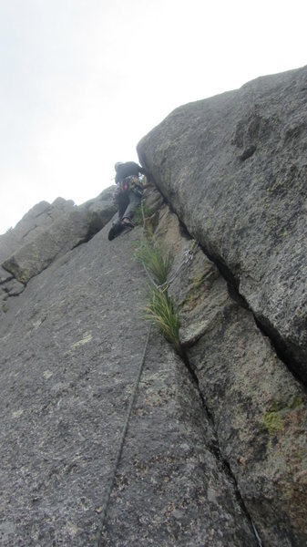 Rock Climbing Photo: Second pitch.  Follow the bushes then the path of ...
