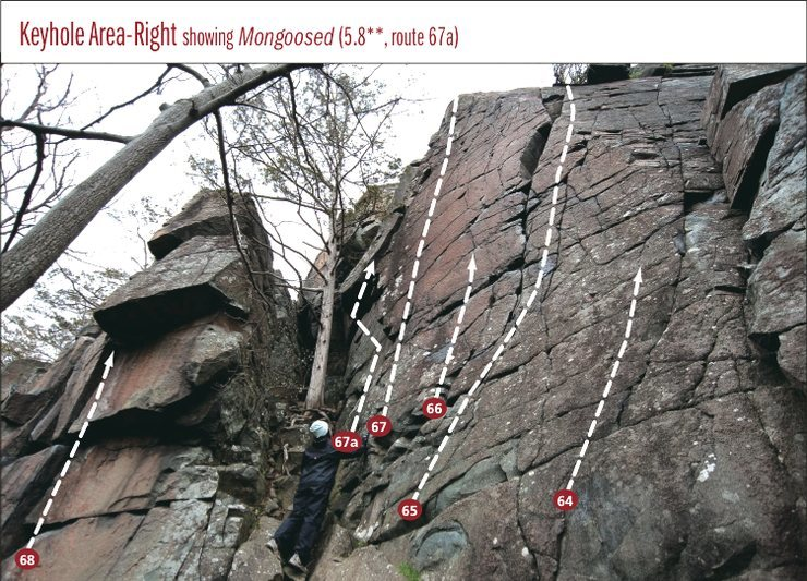 Keyhole area with Mongoosed (67a) added. Other routes #s from Rock Climbing: Minnesota and Wisconsin, 2nd Ed.