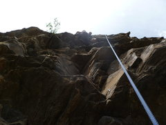 Rock Climbing Photo: The bottom of the route showing the first two bolt...