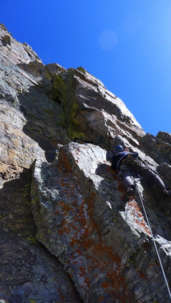Rock Climbing Photo: Ben below the first pitch corner.  We climbed the ...