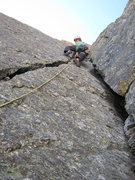 Rock Climbing Photo: Mike on 2nd pitch; 5.7 and the best pitch of the r...