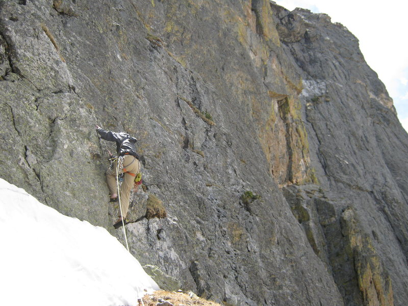 Rock Climbing Photo: Jeff starting steep lower part of 5th pitch.