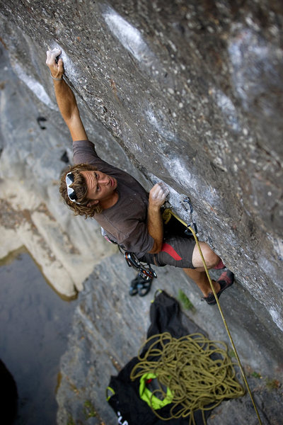 Alexander B pulls the crux of Danger Boy, at Wheeler Gorge.