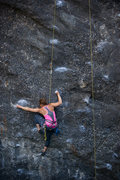 Rock Climbing Photo: Katie works through the crux of Danger Boy, at Whe...