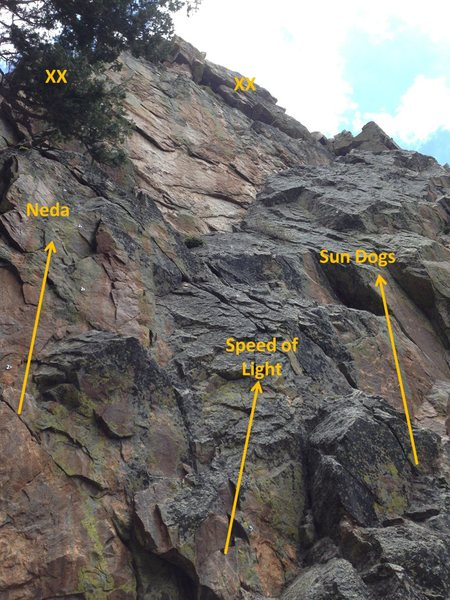 Rock Climbing Photo: The three routes currently at the East Buttress, d...