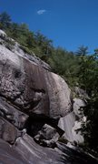 Rock Climbing Photo: Steep wall and overhang in the center of the slab....