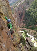 Rock Climbing Photo: David following the first pitch of Superspar. Exce...