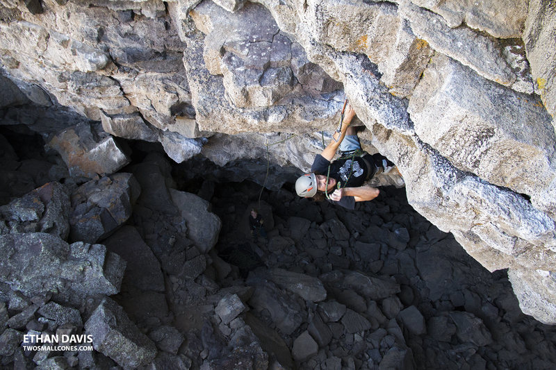"""NOM NOM. JP cruises for a flash of """"The Warm-Up"""" (5.10d) at the Lava Tubes - Idaho"""