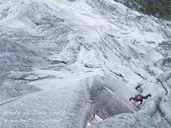 Rock Climbing Photo: Chance leading the crux, pitch 18