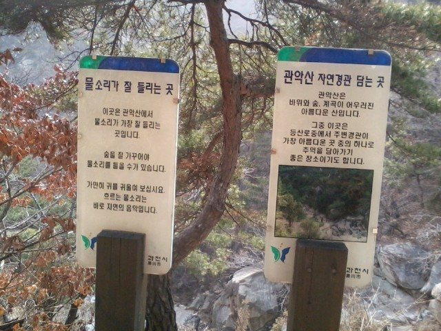 The two plastic signs that mark the divergence from the main trail