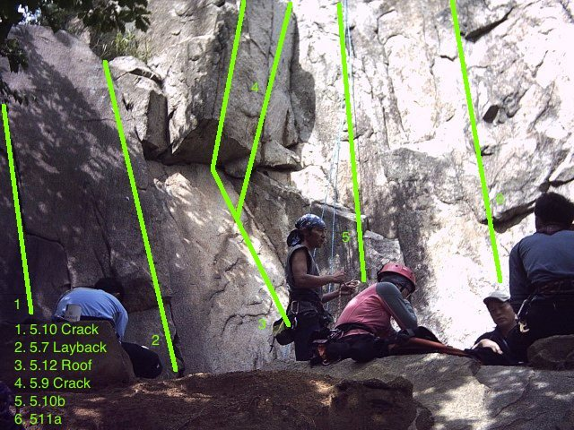 The staging area of the crag