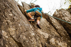 Rock Climbing Photo: A five year old negotiating the silver spot crevic...