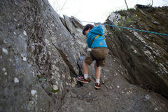 Rock Climbing Photo: Lowering from the Silver Spot crevice.