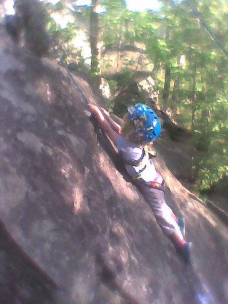 A long reach on the Meenehan slab.