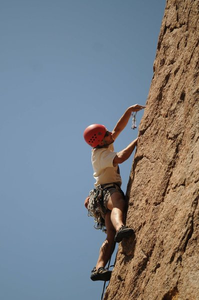Rock Climbing Photo: Plugging in a nut –I recommend a set of aliens ...
