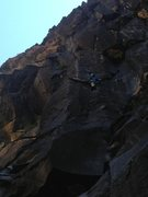 Rock Climbing Photo: On the onsight attempt of Darkest Hour.