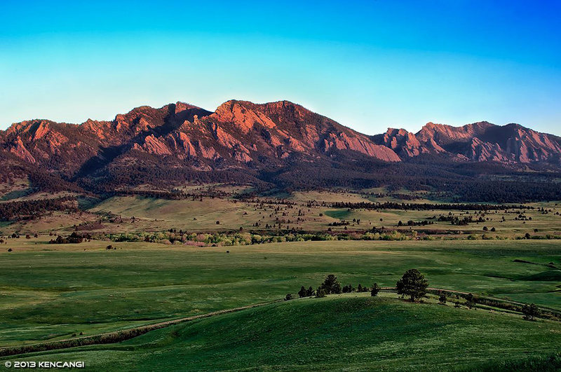 Sunrise on the Flatirons, from Doudy Draw.<br> <br> © 2013 Ken Cangi, All Rights Reserved.
