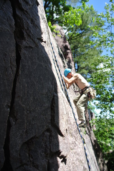 Doug at about the 85F mark while leading Lost Face route 6-16-13.