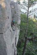 Rock Climbing Photo: Photo 3 Doug leading Stuck Knee 6-16-13.