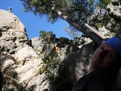 Rock Climbing Photo: Matt high up on Emergency Snow Route.  Awesome var...