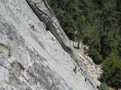 Rock Climbing Photo: A different view of climbers on the second pitch. ...