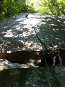 me on lead almost to the top of crack attack, Ed Hall was nice enough to follow me up and spot for the first move...